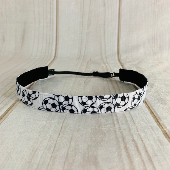 "Adjustable Nonslip SOCCER Headband 7/8"" Soccer Balls Headband Fits Ages 2 Yrs to Adult for Athletics & Fashion by Busy Bee Headbands"