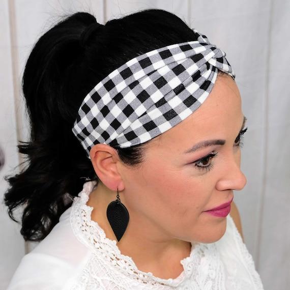 BLACK & WHTIE PLAID Headband / Twisted Turban Headband / Top Knot Headband / Wide Headband / Yoga Headband / Boho Style / Busy Bee Headbands