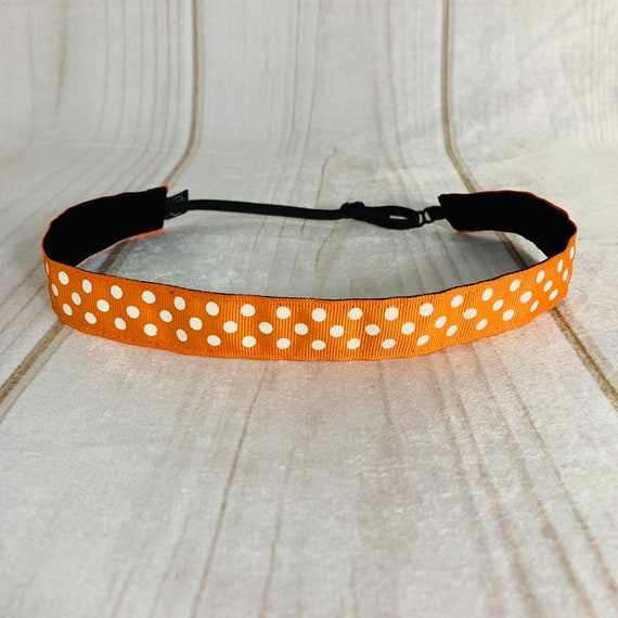 "7/8"" Orange Polka Dots Headband / Adjustable Nonslip / Athletic & Fashion / Fits 2 yrs to Adult / by Busy Bee Headbands"