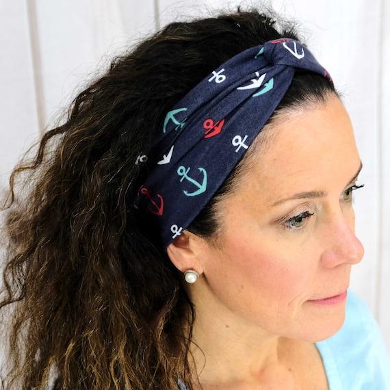 Nautical Twisted Turban Headband Boho Head Wrap 'ANCHORS AWAY' Athletic & Fashion One Size Fits Most by Busy Bee Headbands