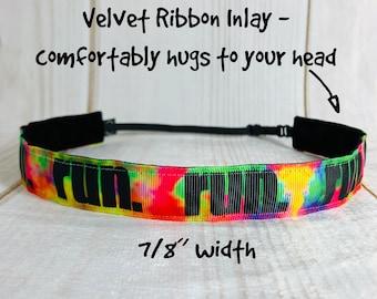 "7/8"" TIE DYE RUN Headband / Workout Headband / Gift for Runner / Adjustable Nonslip Headband / Button Headband Option by Busy Bee Headbands"