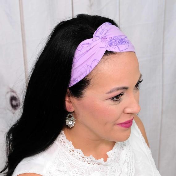 LAVENDER FIELDS FLORAL Headband / Turban Headband / Knotted Headband / Wide Headband / Yoga Headband / Flower Headband / Boho Style Headband