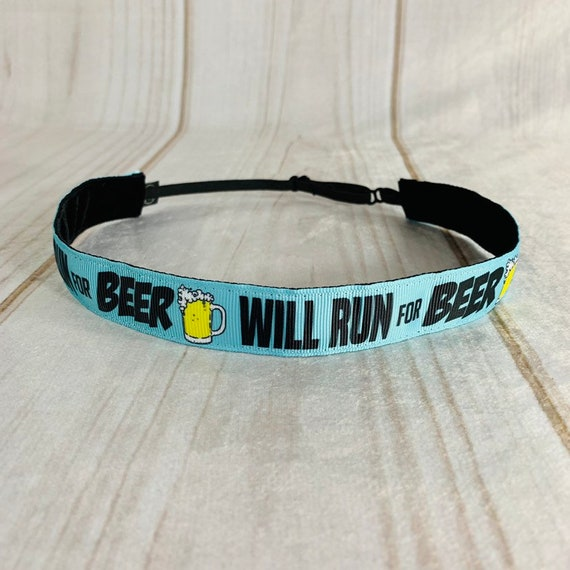"7/8"" Will RUN FOR BEER Headband / Running Headband / Nonslip Headband / Adjustable Headband / Race Day Headband  Busy Bee Headbands"