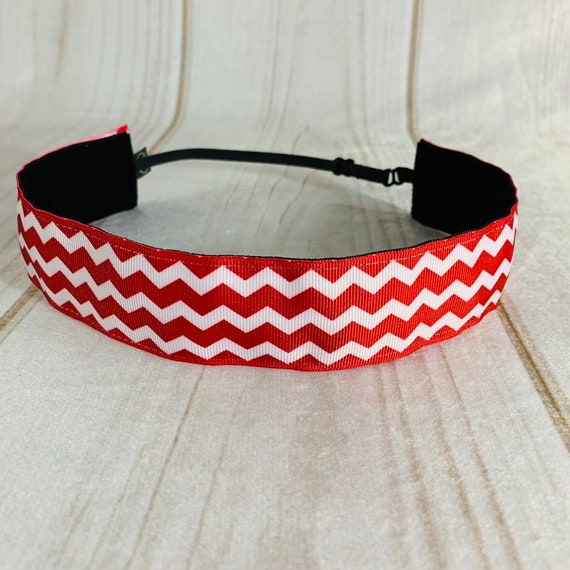"Adjustable Nonslip CHEVRON Headband 1.5"" Fits Ages 2 Yrs to Adult for Athletics & Fashion by Busy Bee Headbands"