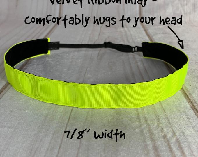 "7/8""NEON YELLOW Headband / Light Yellow Neon Sunflower Workout Fitness / Adjustable Nonslip / Button Headband Option by Busy Bee Headbands"