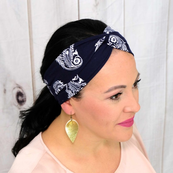 Navy Paisley Turban Headband Twisted Top Knot Headband 'GO GETTER' Athletic & Fashion One Size Fits Most by Busy Bee Headbands