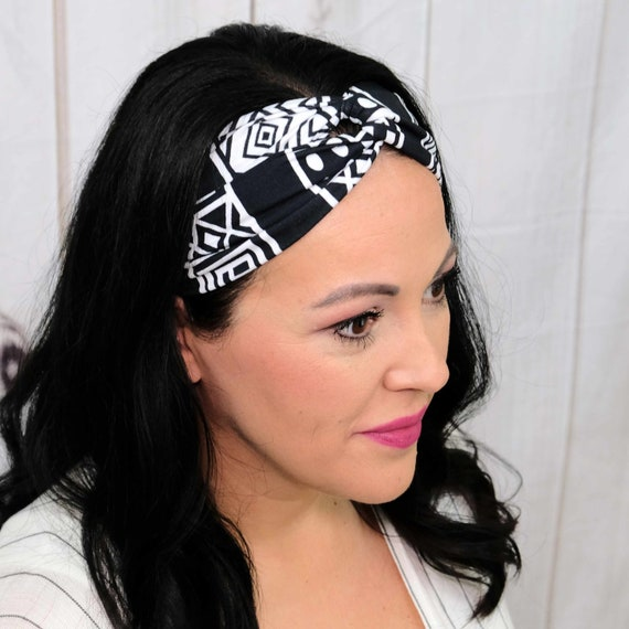 Black and White Turban Headband Boho Head Wrap 'GO GETTER' Athletic & Fashion One Size Fits Most by Busy Bee Headbands