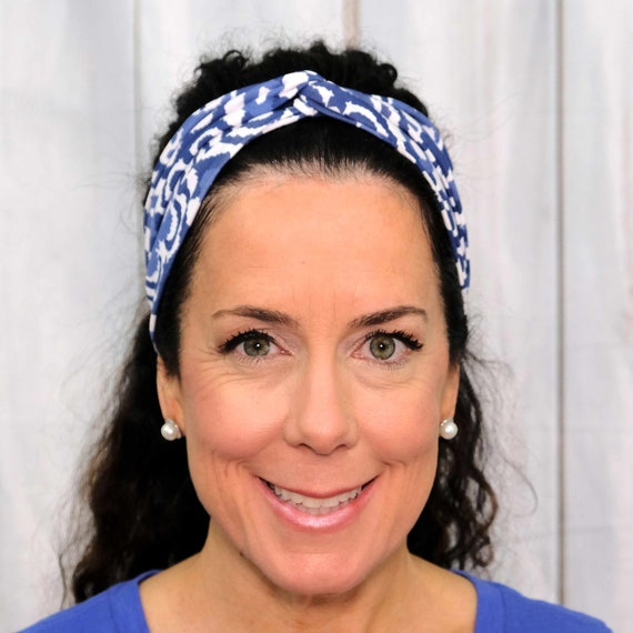 SERENITY BLUE Headband / Twisted Turban Headband / Top Knot Headband / Wide Headband / Yoga Headband / Boho Style / Busy Bee Headbands