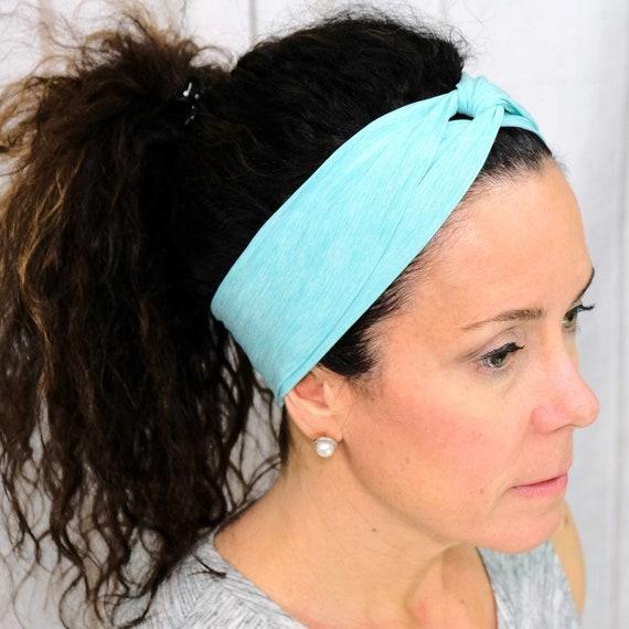 ATHLETIC TURQUOISE Headband / Twisted Turban Headband / Knotted Headband / Wide Headband / Workout Headband Yoga Headband Busy Bee Headbands