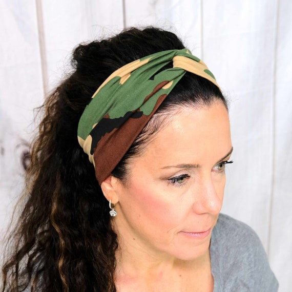 Camouflage Turban Headband Top Knot Camo Headband 'BOOT CAMP BABE' Athletic & Fashion One Size Fits Most by Busy Bee Headbands