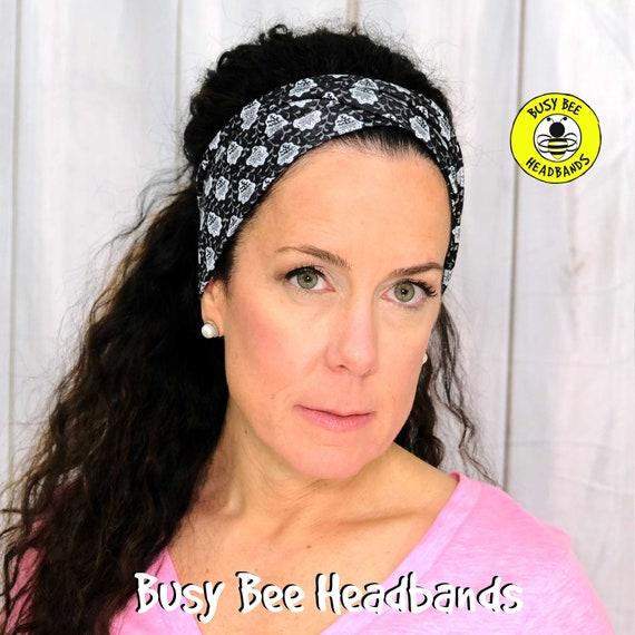 BLACK & WHITE FLORAL Headband / Turban Headband / Knotted Headband / Wide Headband / Yoga Headband / Flower Headband / Boho Style Headband