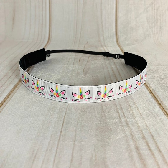 "Adjustable Nonslip UNICORN Headband 7/8"" Fits Ages 2 Yrs to Adult for Athletics & Fashion by Busy Bee Headbands"