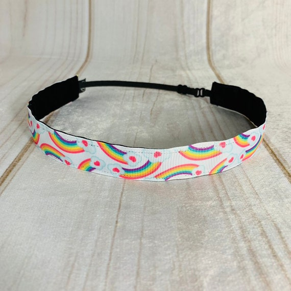 "7/8"" RAINBOW Headband / Running Headband / Nonslip Headband / Adjustable Workout Headband / Gift for Young Girl Tween / Busy Bee Headbands"