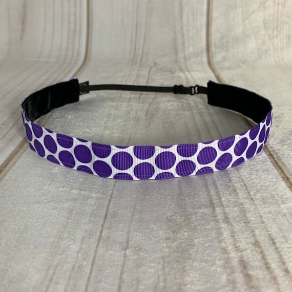 "Adjustable Nonslip POLKA DOT Headband 7/8"" PURPLE Headband Fits Ages 2 Yrs to Adult for Athletics & Fashion by Busy Bee Headbands"