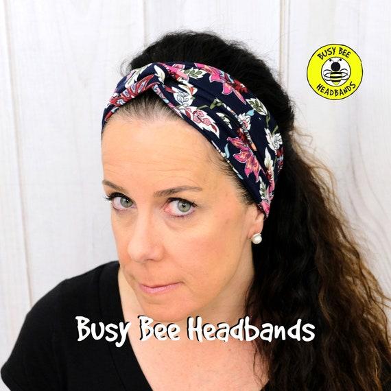 FLORAL NAVY BLOOM Headband / Turban Headband / Knotted Headband / Wide Headband / Yoga Headband / Flower Headband / Boho Style Headband