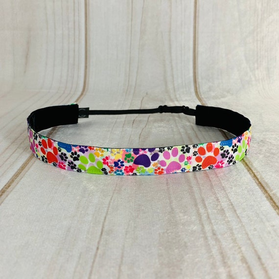 "Adjustable Nonslip PAW PRINTS Headband 7/8"" Colorful ANIMAL Print Headband Athletic & Fashion Fits Ages 2 Yrs to Adult by Busy Bee Headbands"