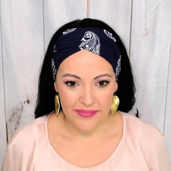 NAVY PAISLEY Headband / Twisted Turban Headband / Knotted Headband / Wide Headband / Workout Headband / Yoga Headband Busy Bee Headbands