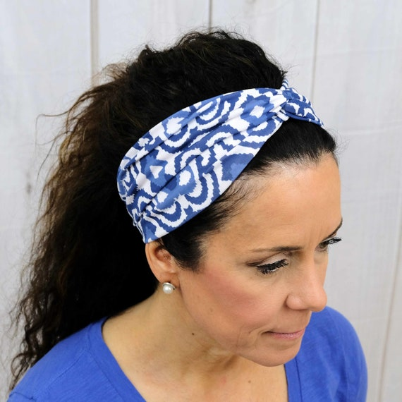 Blue Twisted Turban Headband Boho Head Wrap 'WATERS EDGE' Athletic & Fashion One Size Fits Most by Busy Bee Headbands