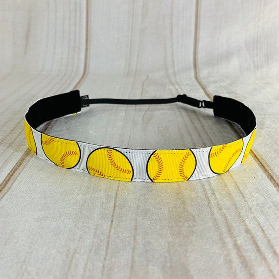 "Adjustable Nonslip SOFTBALL Headband 7/8"" Fits Ages 2 Yrs to Adult for Athletics & Fashion by Busy Bee Headbands"