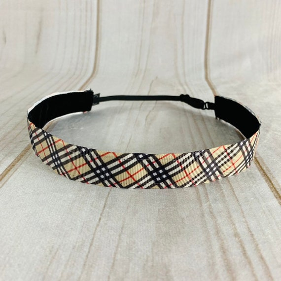 """Adjustable Nonslip BURBERRY Headband 1"""" BURBERRY PRINT Headband for Athletics & Fashion Fits Ages 2 Yrs to Adult by Busy Bee Headbands"""