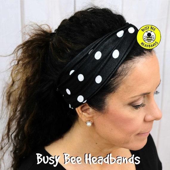 Black White POLKA DOTS Headband / Turban Headband / Knotted Headband / Wide Headband / Yoga Headband / NEW Headband / Boho Style Headband