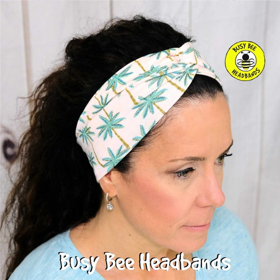 PALM TREES Headband / Twisted Turban Headband / Top Knot Headband / Wide Headband / Yoga Headband / Boho Style Headband / Busy Bee Headbands