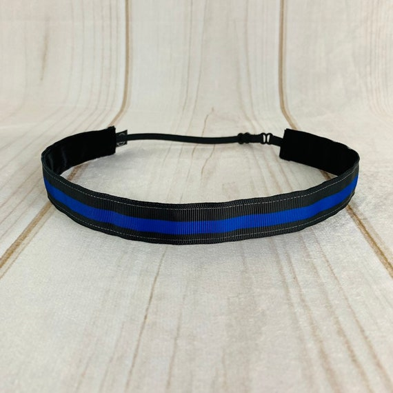 "Adjustable Nonslip Headband 7/8"" POLICE BLUE STRIPE Fits 2 Yrs to Adult for Athletics & Fashion by Busy Bee Headbands"