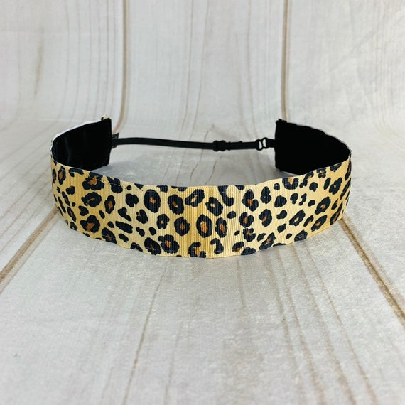 "Adjustable Nonslip LEOPARD Headband 7/8"" and 1.5"" CHEETAH Headband Fits Ages 2 Yrs to Adult for Athletics & Fashion by Busy Bee Headbands"