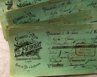 1890s One Antique  French Bank Check-Receipt-Money Order, Of Wine-Brandy & Liqueur Trade, Th. BURGEAT Trader, Faded Light Green Color France