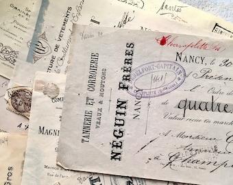 1890s-1930s, TEN Vintage French Bank Checks Receipts Money Order, Stamps, Handwritten, Vintage French Ephemera, Hand Cursive Writing