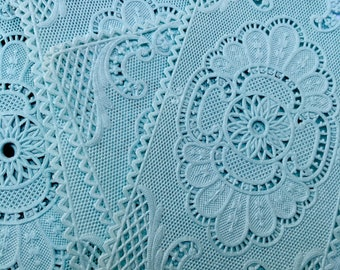 1950s-Made In France! Set Of Ten Vintage Paper Lace Doilies, Light Blue Papers Lace, Used by pastry shops-confectioners, French Bourgeoisie
