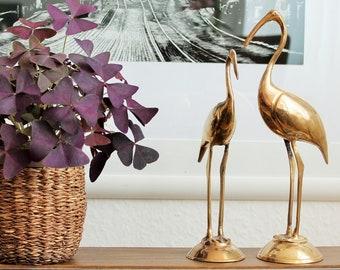 2 metal brass Ibis birds figurines, vintage metal birds, Germany, 60s, GDR