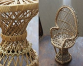 Rattan doll armchair, wicker chair