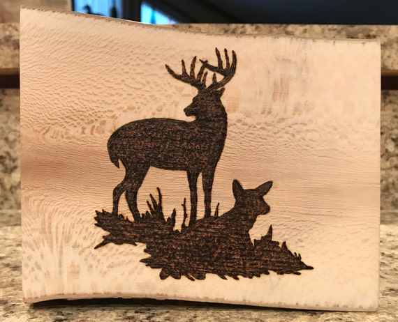 Pyrography Deer Silhouette I Love To Wood Burn Wildlife Etsy
