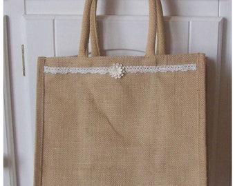 Burlap flower tote bag