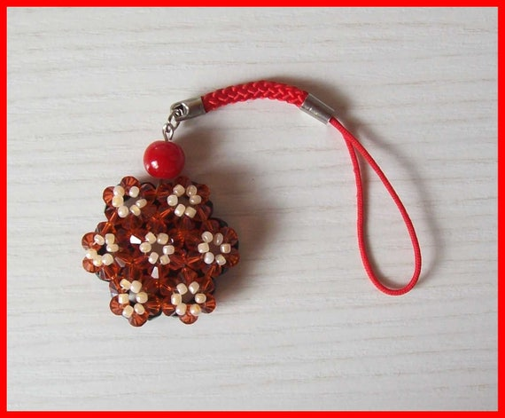 Red Jewel Phone Case With Flower Made Of Seed Beads And Red Etsy