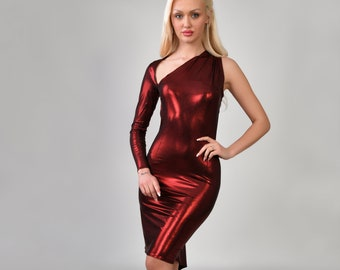 Exclusive, limited edition metallic red tango dress. Product Code: 628