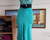 Exclusive, One Shoulder, Teal Bonnie Dress with a Lace Back, Ruched Details and Slits on the Skirt.