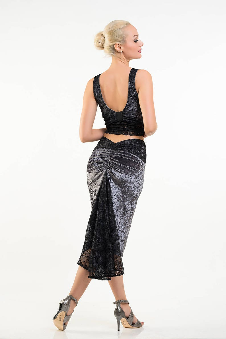 abfde845a40e Exclusive Elise Tango Skirt and Top Crushed Velvet with Lace   Etsy