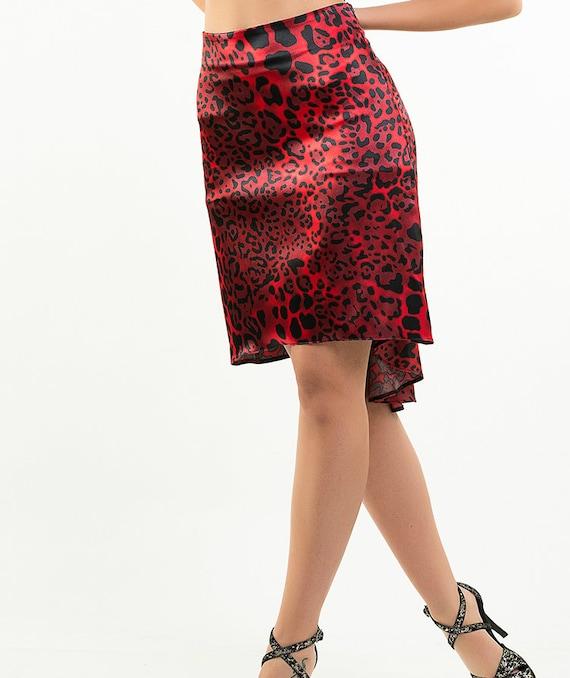 Chantal Tango Skirt in Black Crushed Velvet and Silky Satin Tail.