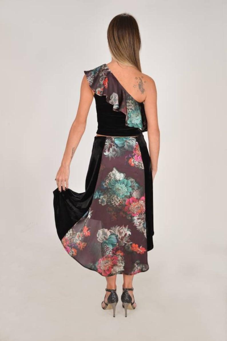 MTJ Tango Skirt and Tango Top  \u2022 Black Velvet \u2022 Below Knee \u2022Satin Floral \u2022 Slit \u2022 One Shoulder Ruffled Top