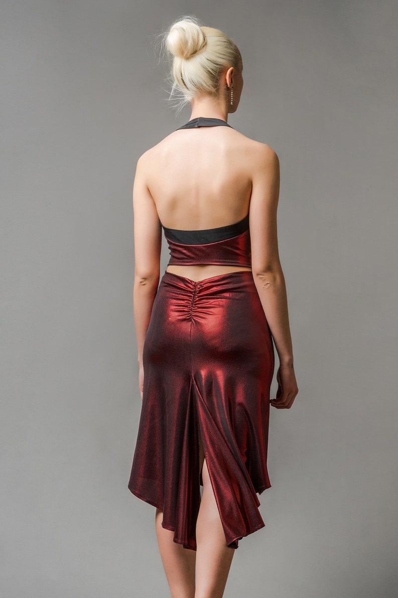 f53722a0d8d NEW Metallic Red Shiny Elegant Tango Dress. Features Front