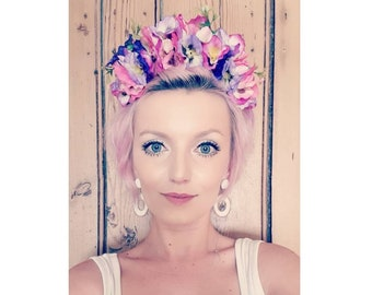 Handmade Pink And Purple Poppy Floral Crown Headpiece