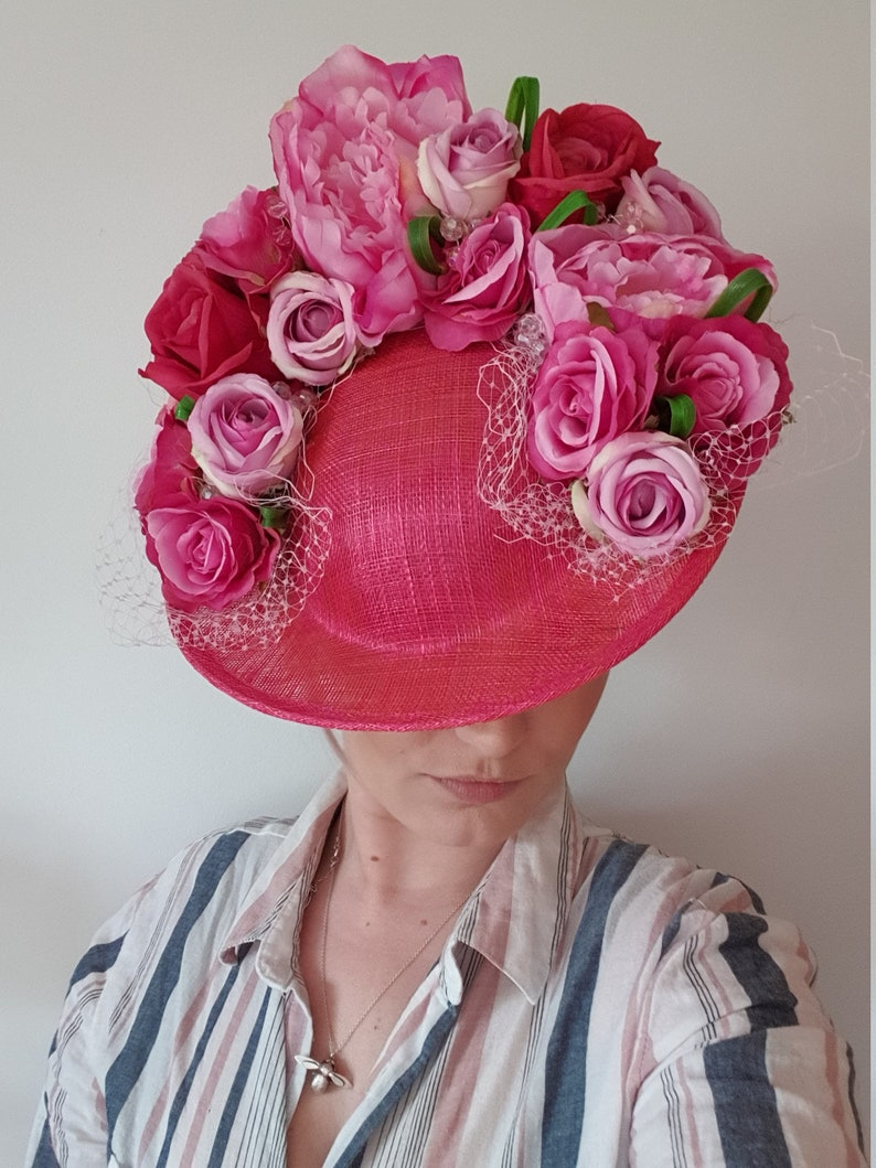 Ladies Day Hat With Gems Bespoke Handmade Unique Mixed Fuchsia and Pale Pink Floral Royal Ascot  Wedding  Mother Of The Bride