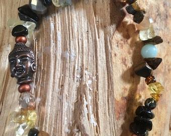 Tigers Eye, Citrine, Black Jasper, Agate Bracelet Handmade Unique