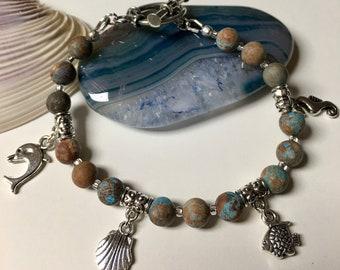 Natural Blue Agate Ocean Charm Bracelet Personalize Customize Handmade