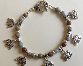 Tibetan Inspired Agalmatolite Elephant Bracelet
