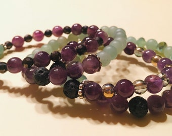 Amethyst and Aventurine WIth Lava