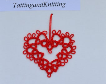 Tatted Red Hanging Heart - Bookmark or  Home decoration lace ornament (2 inches)