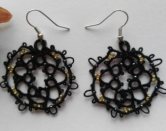 Tatted Lace Black Round Earrings with Golden Beads - Imperatrice